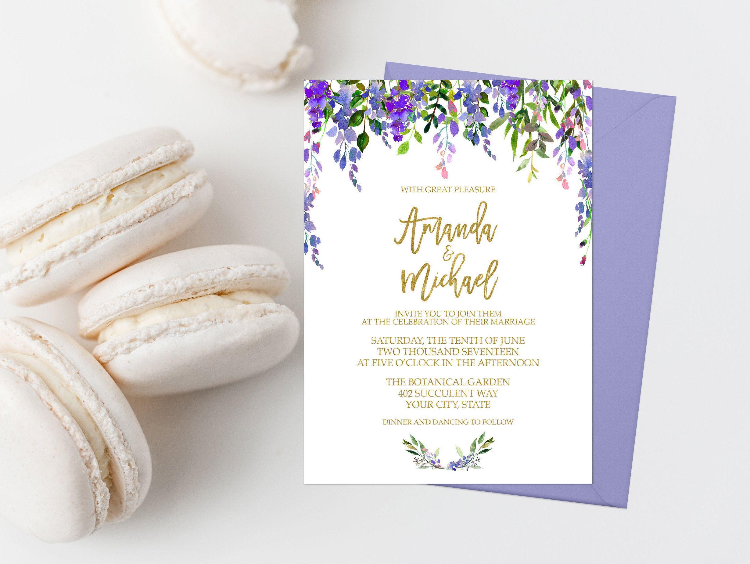 Purple Floral Wedding Invitation Suite Printable Boho