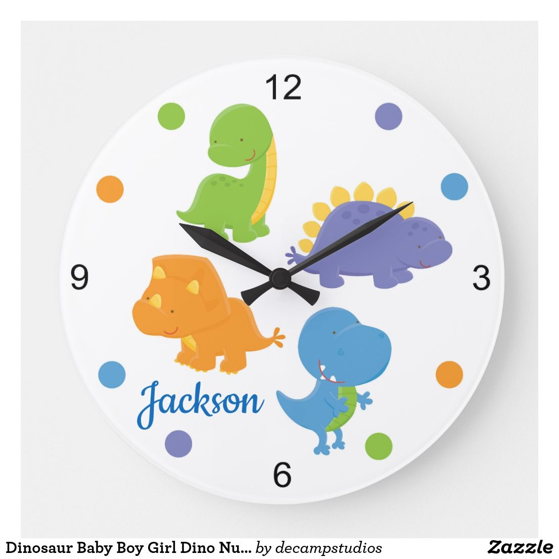 Dinosaur Baby Boy Girl Dino Nursery Kids Room Large Clock | Zazzle.com