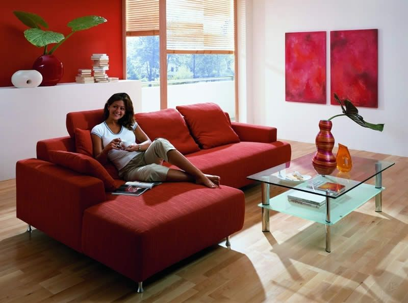 Red Couch Wood Floor