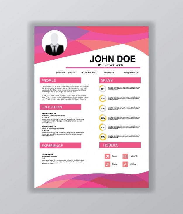 Curriculum vitae template Free Vector Resume Pinterest Template - resume design template free download