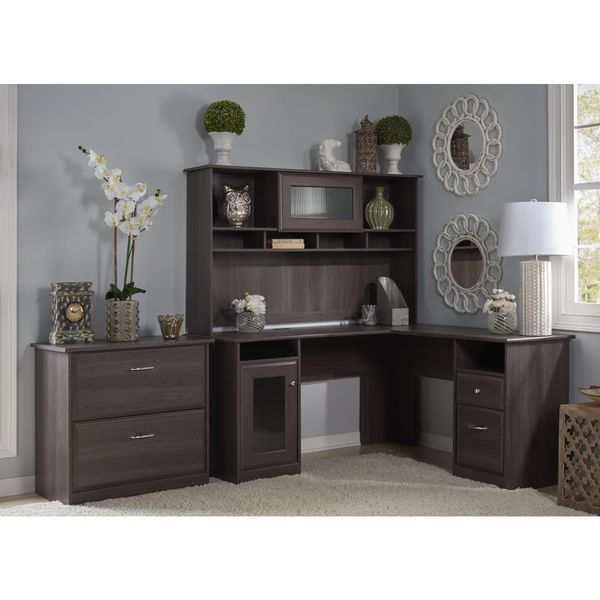 Captivating Bush Furniture Cabot Collection L Desk With Hutch And Lateral File