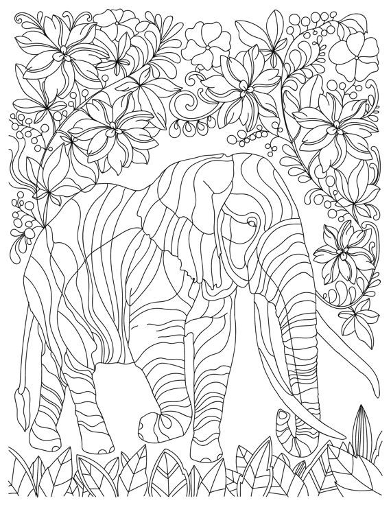 stress relief coloring pages elephant - elephant animal adult coloring book stress relieving by