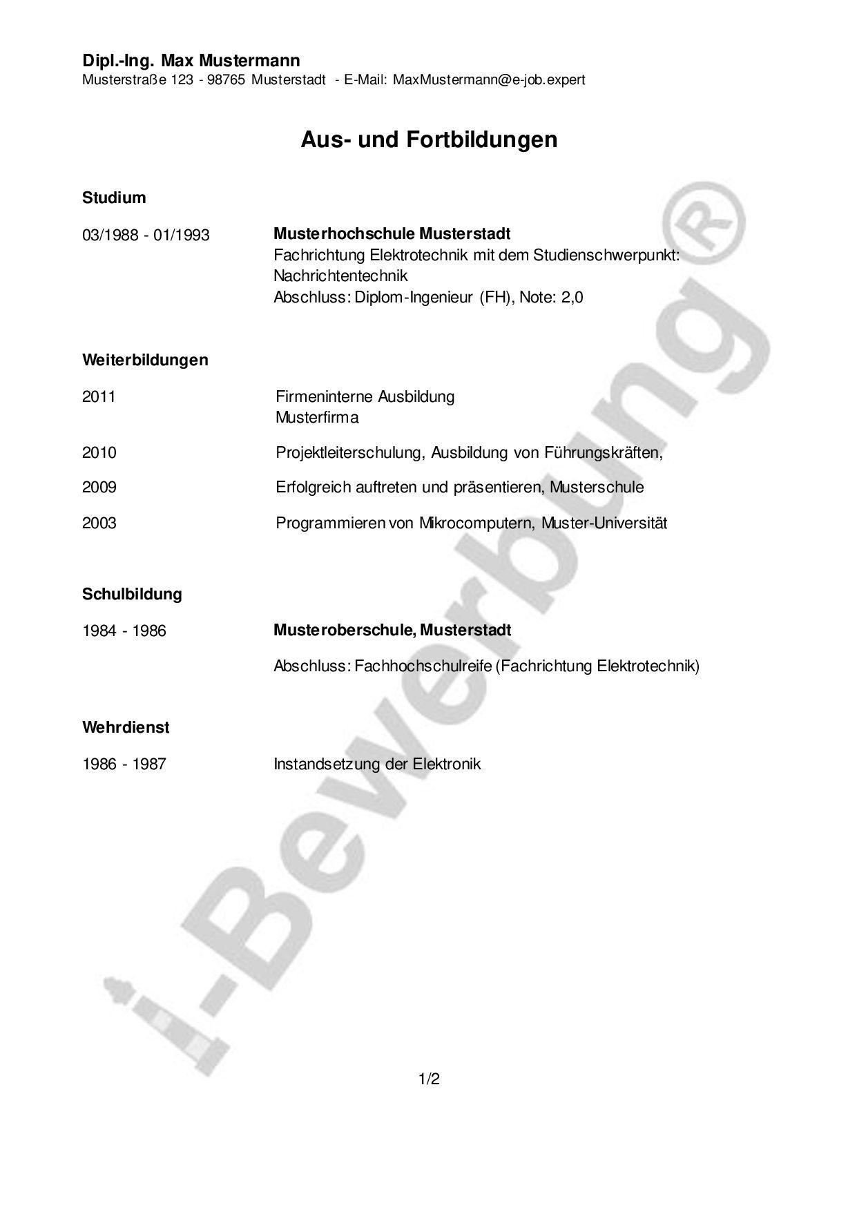 Initiativbewerbung Als Projektleiter Qualifikationsprofil Beispiel Diplom Ingenieur Bewerbung Weiterbildung