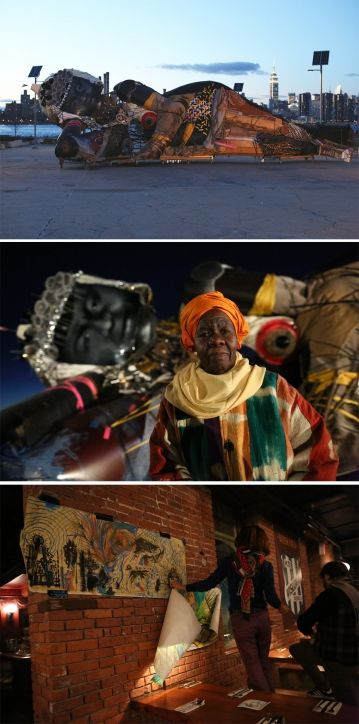 """Pawel Althamer pays tribute to Delois Blakely, who is known as the"""" Queen mother"""" of Harlem. The artwork is built from urban flotsam and jetsam- hats scaffolding, headlights."""