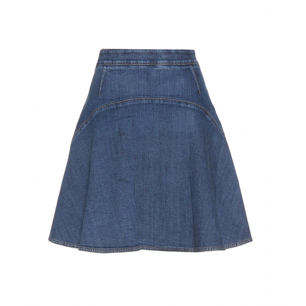 Stella McCartney - Denim skirt - The voluminous design is accented with perfectly placed contrast seams and soft pleats throughout. - @ www.mytheresa.com