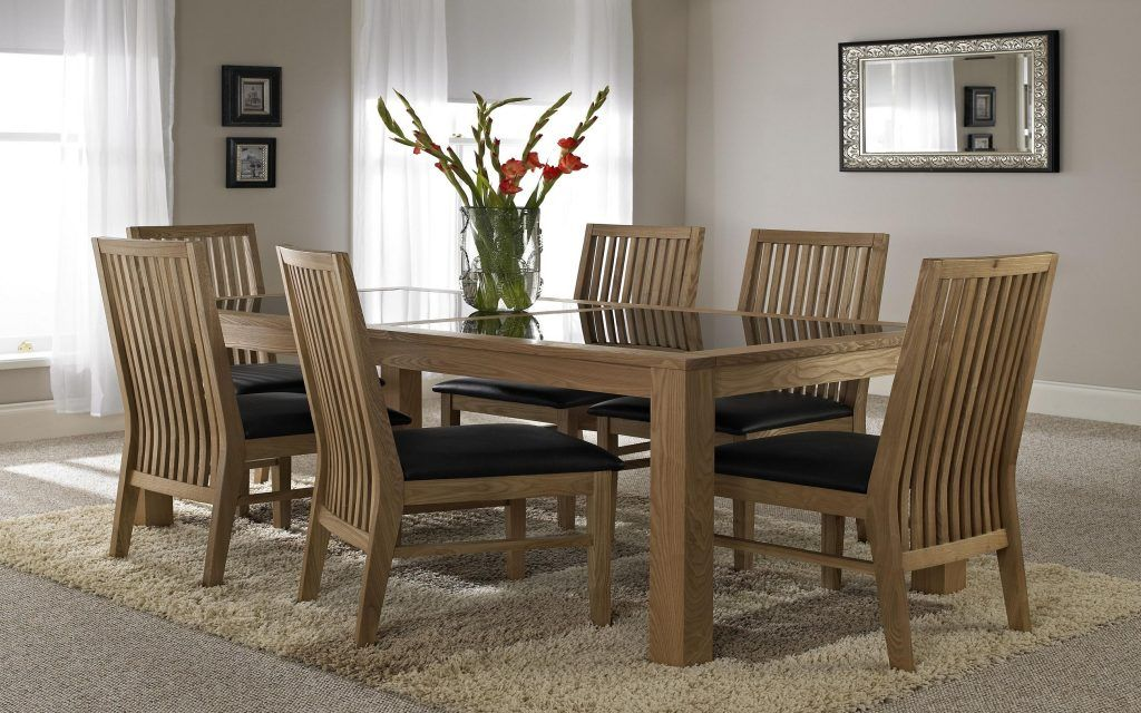 Furniture Espresso Wooden Dining Table Frame With Black Tinted Glass Top Surface Combined Light Brown Fur Rug Dining