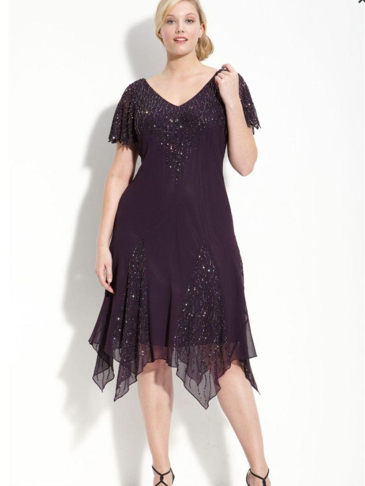 J Kara Plum Chiffon Cocktail Occasion Dress Handkerchief Hem Plus