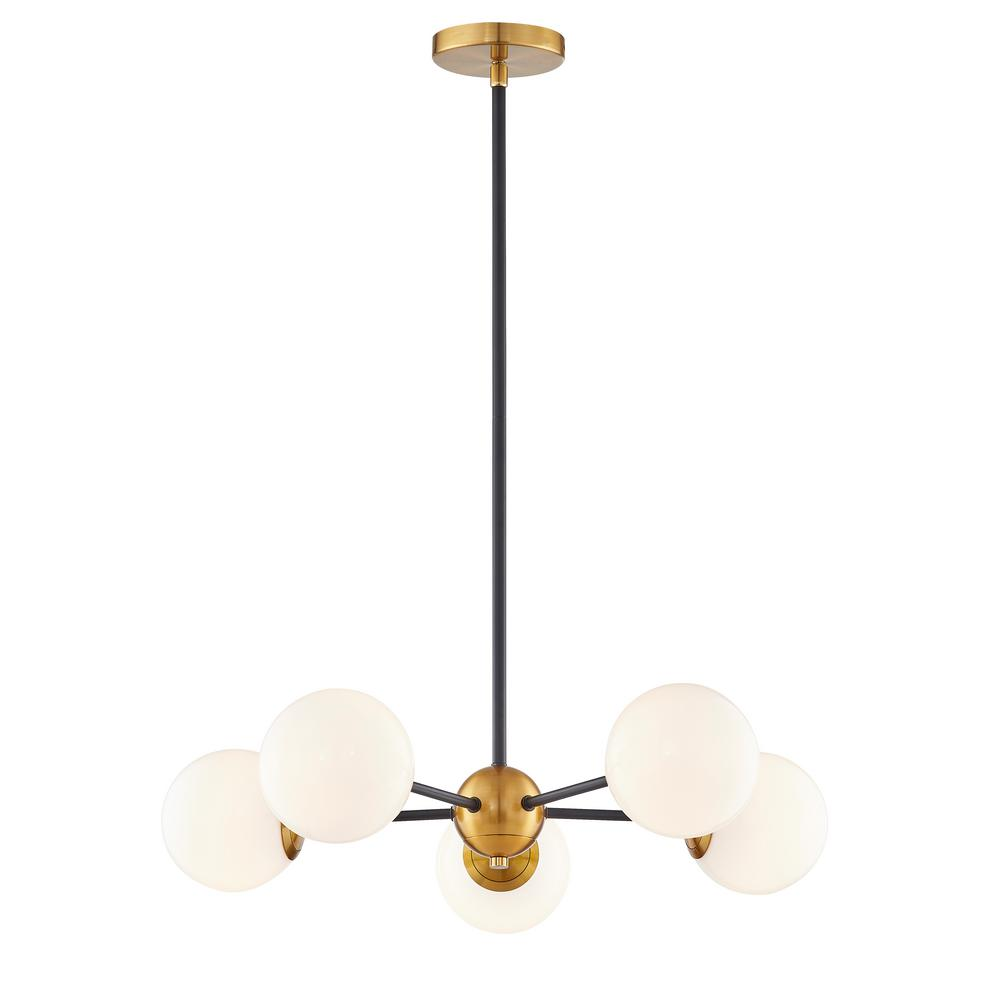 Fifth And Main Lighting Aria 5 Light 24 In Integrated G9 25 Watt Led Burnished Brass And Matte Black Chandelier With Opal Glass Shades Black Chandelier Light