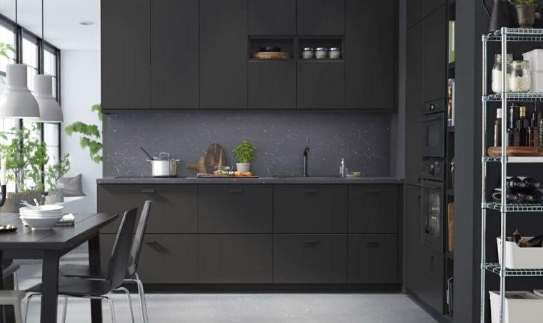 Arredo Cucina Moderna Ikea.Arredamento Cucina Mobili Ikea Colore Nero Stile Moderno