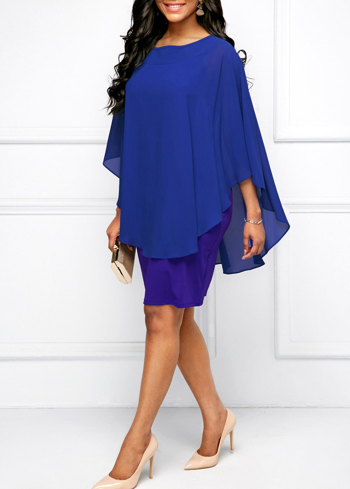 d68cda1ef44 Round Neck Royal Blue Chiffon Overlay Dress