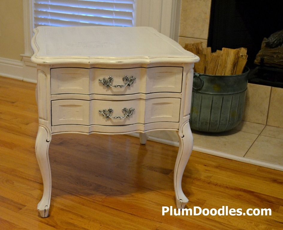 French Country End Table Painted Postcard Graphics Added   PlumDoodles.com