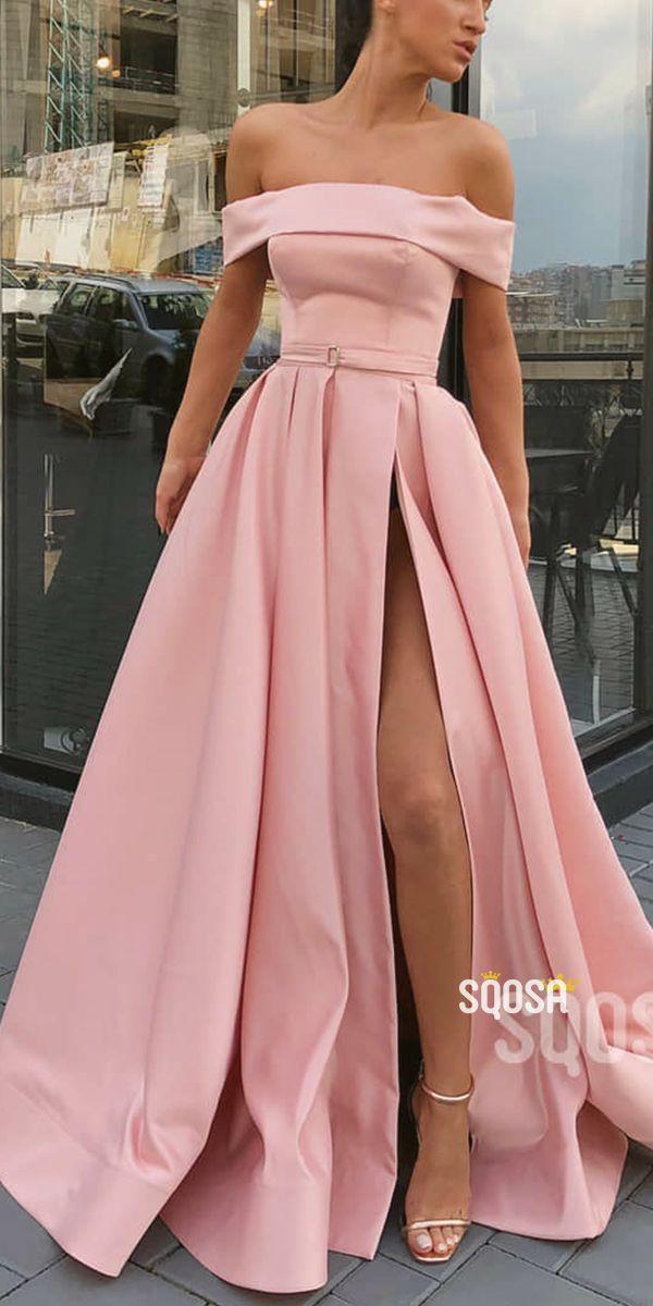 Pink Satin Off-the-Shoulder A-Line Long Prom Dress with Slit QP1405