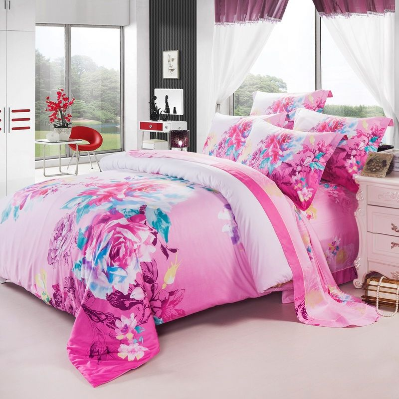 Pink White and Blue Large Vintage Oriental Floral 100% Cotton Full, Queen Size Bedding Sets