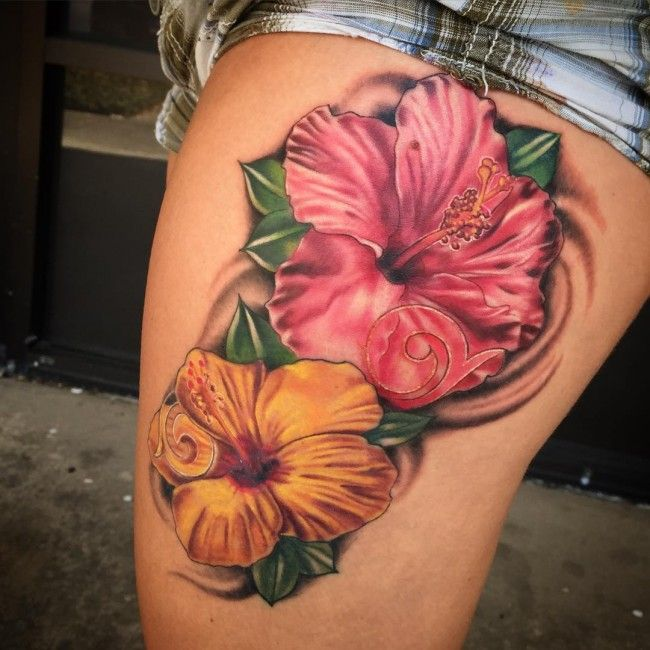 24 Hibiscus Flower Tattoos Designs Trends Ideas: Hawaiian Flower Tattoos, Flower