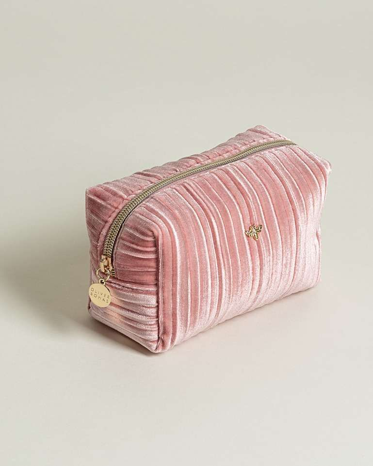 Bee Pleated Velvet Pink Makeup Bag Small Pink Makeup Bag Cute Makeup Bags Small Makeup Bag