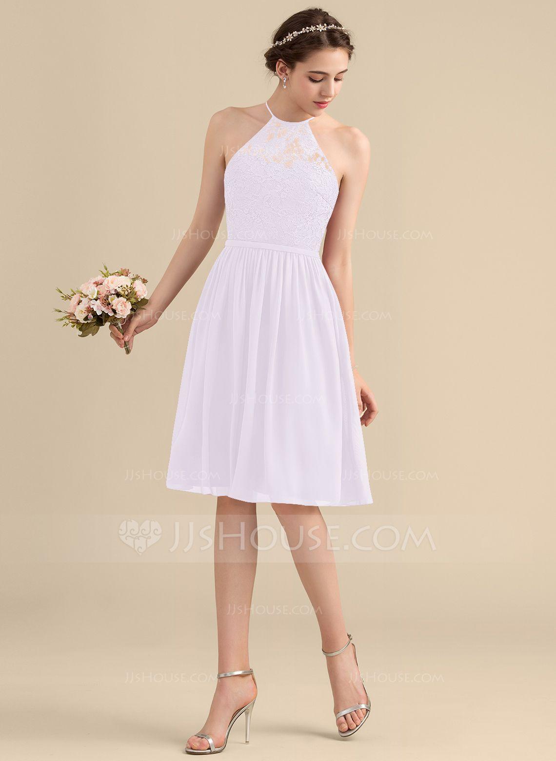 3de3ab057815 A-Line/Princess Scoop Neck Knee-Length Chiffon Lace Bridesmaid Dress  (007153358) - Bridesmaid Dresses - JJsHouse
