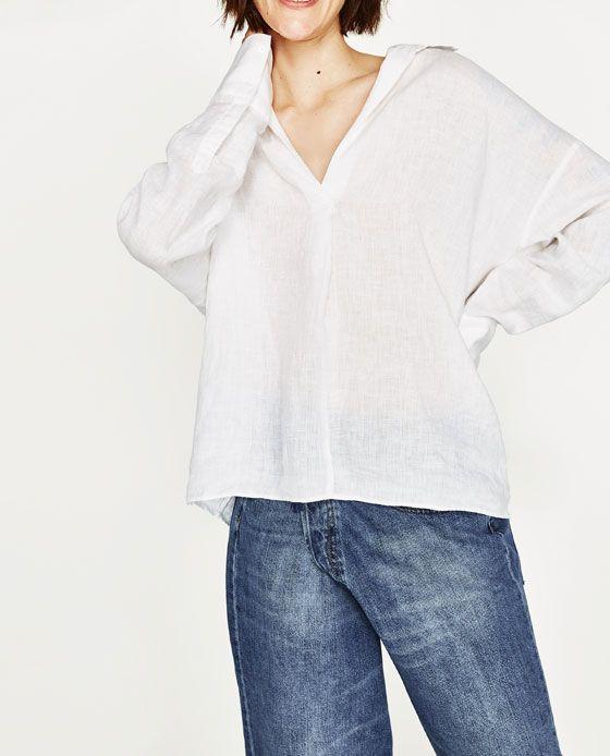 ea05f935cbfa Imagen 2 de BLUSA LINO de Zara | Linen clothes | Blusas, Zara y Camisas