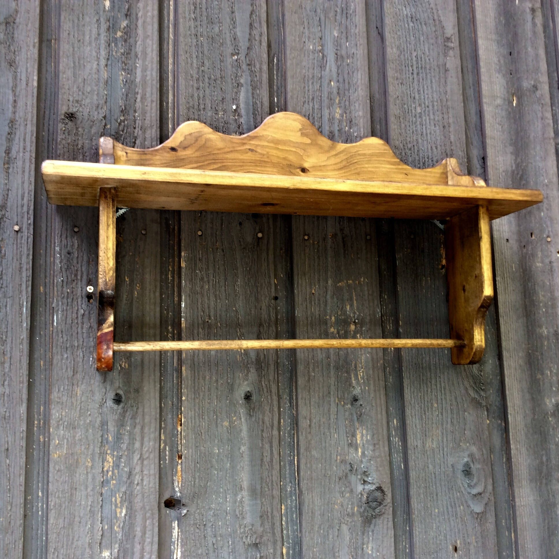 Vintage Shelf with Towel Bar Towel Rack Wooden Wall Hanger Country ...