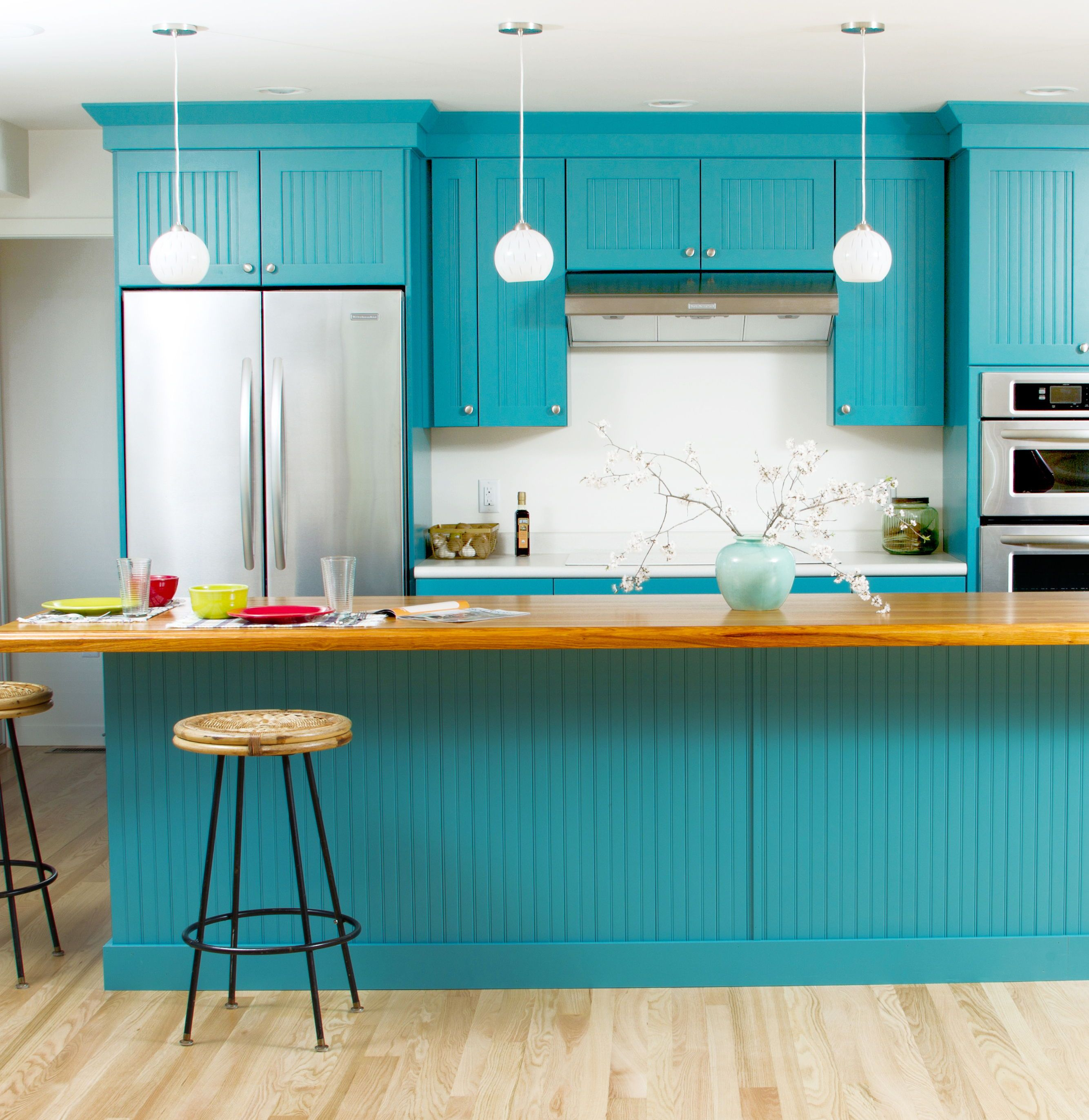 Why Not A Blue Kitchen Bold And Bright Blue Cottage Styled Kitchen Design By Designer Diana Teal Kitchen Cabinets Teal Kitchen Blue Painted Kitchen Cabinets