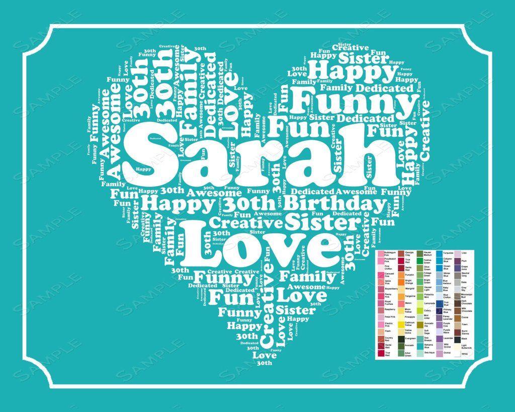 Personalized Th Birthday Th Word Art Birthday Th Birthday Gift  Print Thirty Year