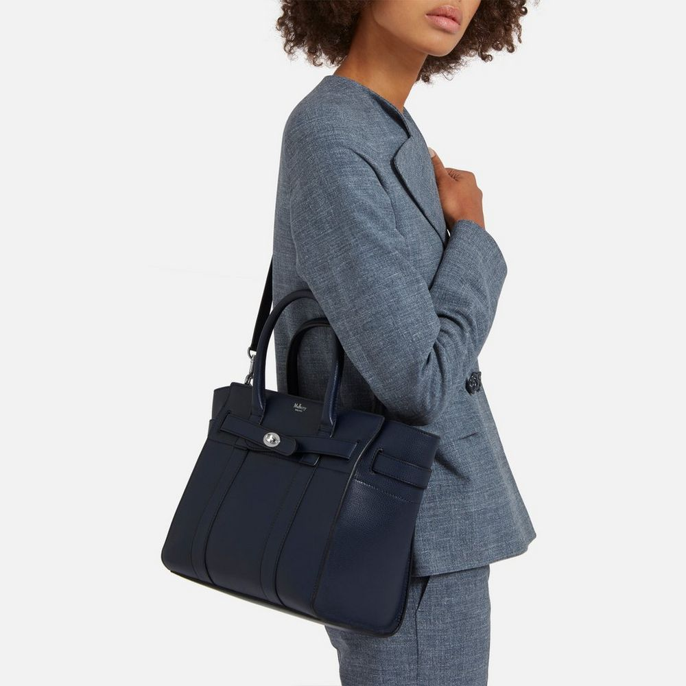39a9d9e86 1350 Small Zipped Bayswater   Bright Navy Cross Grain Leather   My True  Love Gave To Me   Mulberry