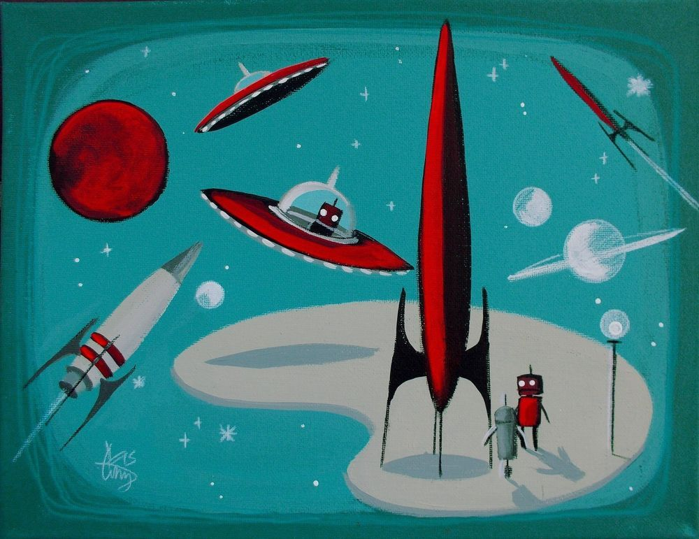 El gato gomez painting retro vintage pulp outer space ship for Retro outer space