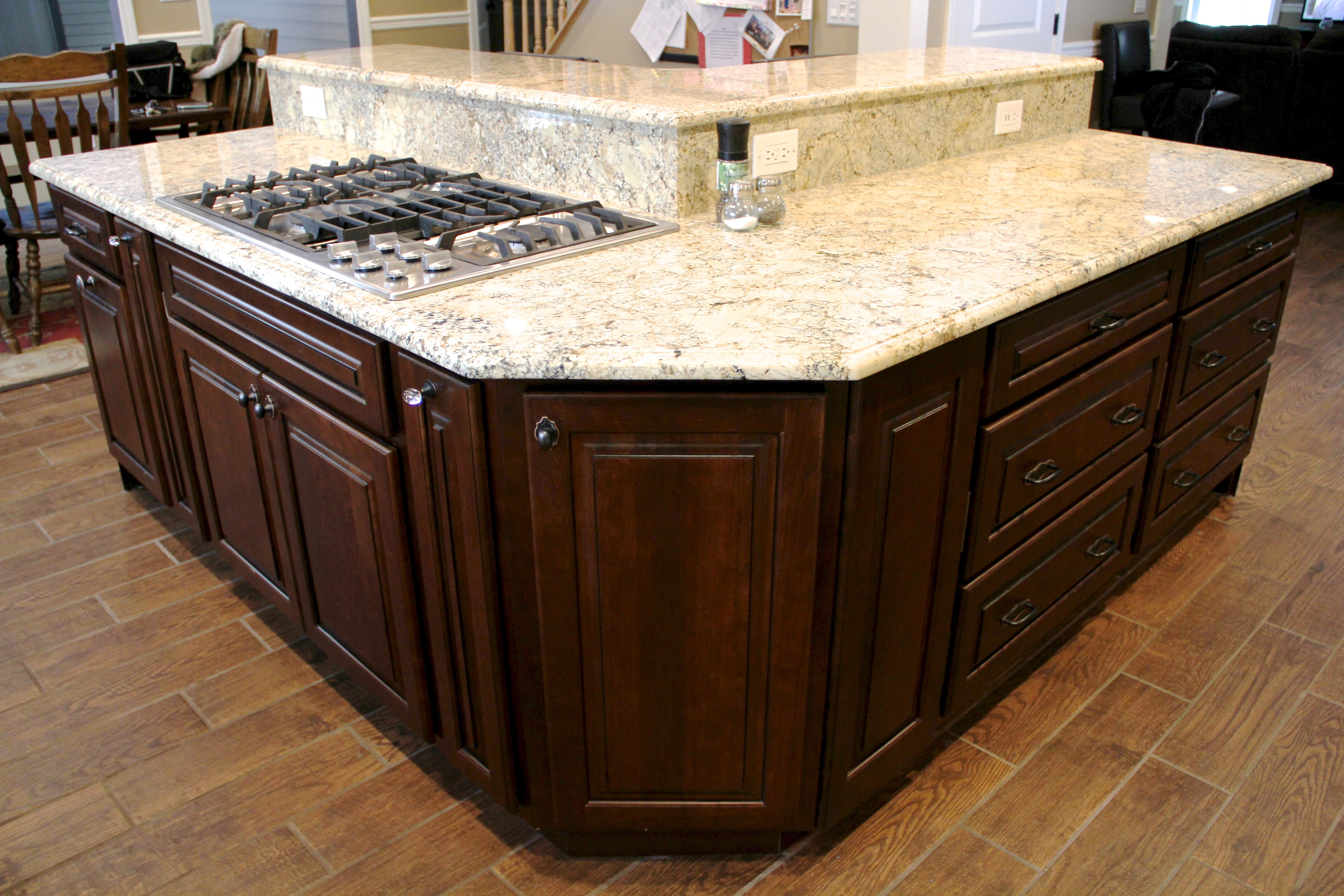 unique v shape island with raised panel doors and five piece drawer heads raised bar height on kitchen island ideas v shape id=91412