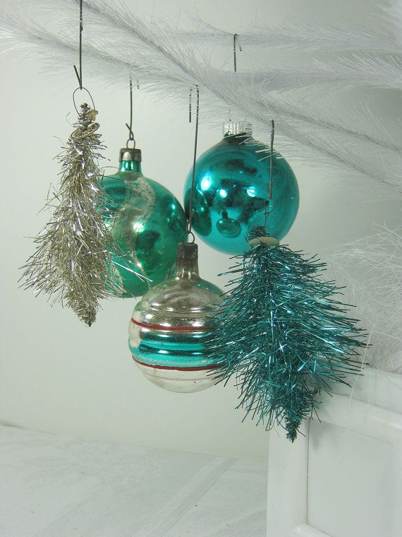 Vintage Mercury Gl Tinsel Ornaments Teal Silver Set 5 By Lavendergardencottag