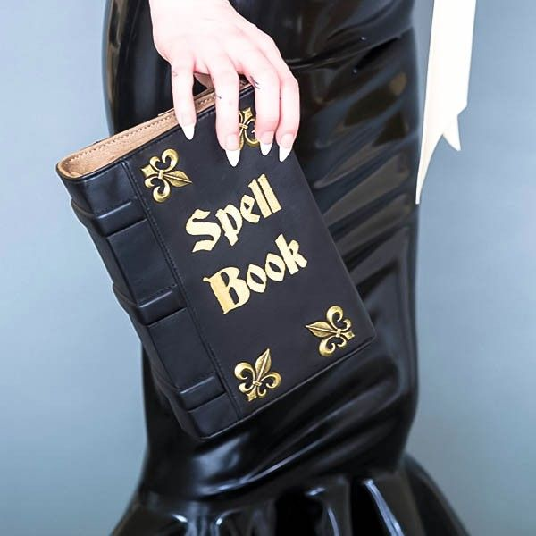 SPELL BOOK BLACK VEGAN LEATHER BOOK CLUTCH | Skinny Bags ...