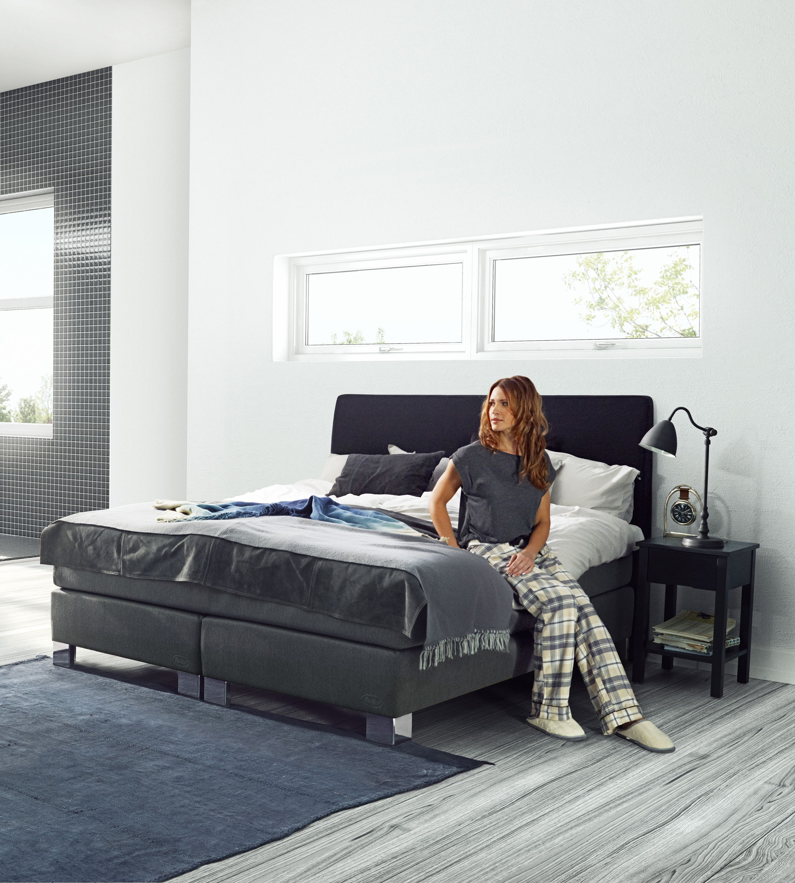 Jensen Opal continental bed in Anthracite textiles. | BEDROOM ...