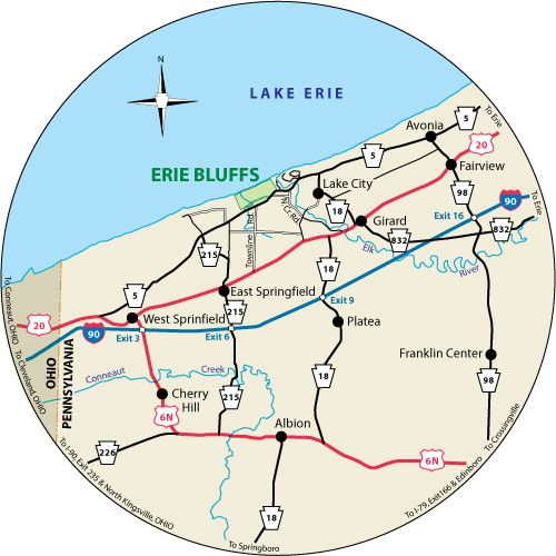 This circular map shows the roads leading to Erie Bluffs State Park