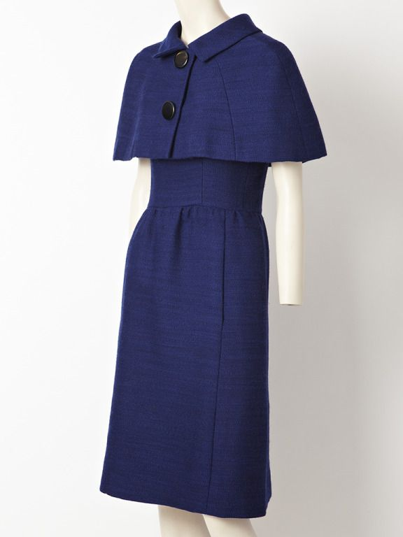 Norman Norell Day Dress With Capelet. | From a collection of rare vintage suits, outfits and ensembles at http://www.1stdibs.com/fashion/clothing/suits-outfits-ensembles/