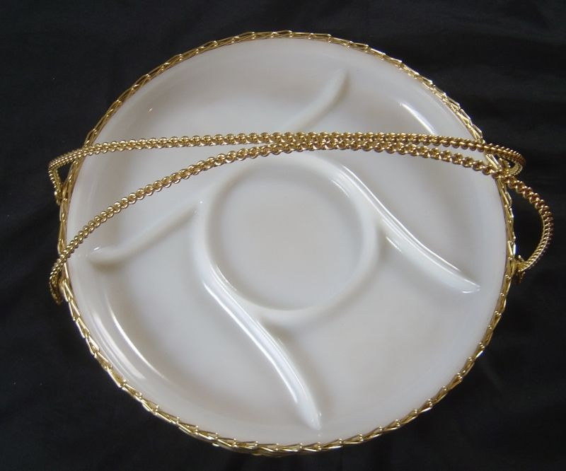 Vintage McKee ? white milk Glass Relish Tray with basket style holder