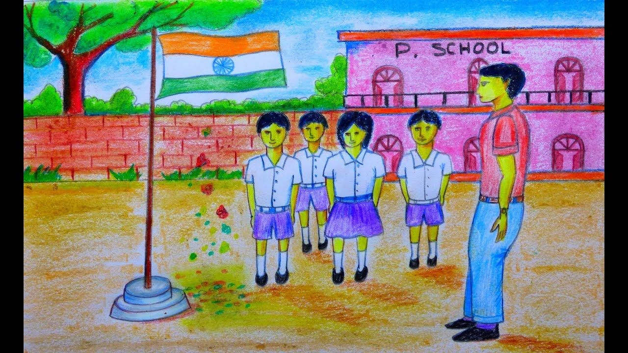 How To Draw Indian Independence Day Celebration In School Independence Day Drawing Drawings Indian Independence Day