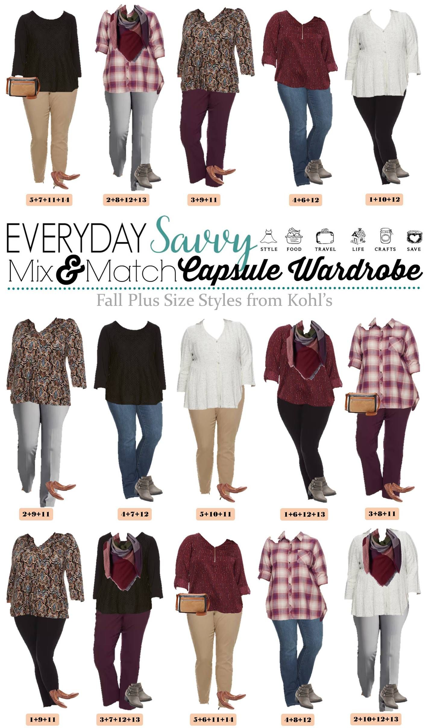 233ebd5a3cd Check out these super cute fall plus size outfits from Kohls. The pieces  mix and match for 15 outfits that make a mini capsule wardrobe. via   everydaysavvy