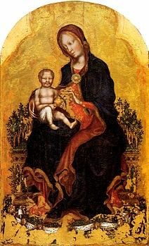 La Madonna in trono col Bambino e angeli musicanti è una tempera su tavola (115×64cm) di Gentile da Fabriano, conservata alla Galleria nazionale dell'Umbria di Perugia e databile al 1405-1410 circa.
