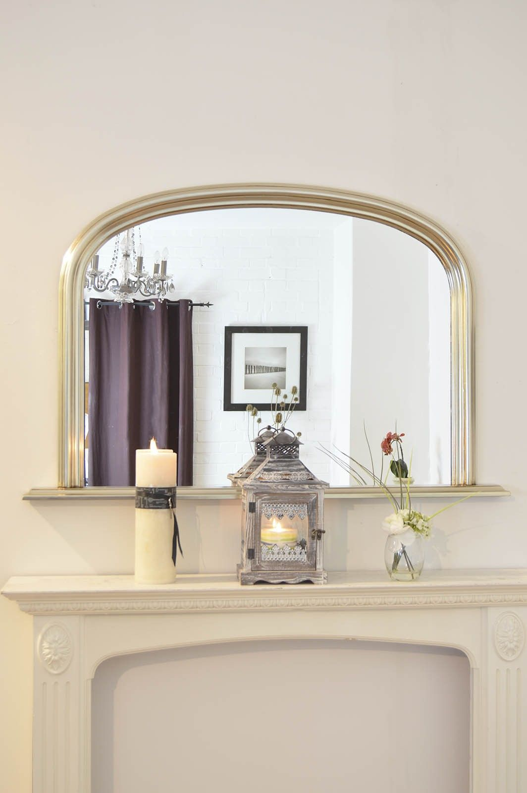 Large Silver Over Mantle Big Overmantle Wall Mirror 4Ft X 2Ft7