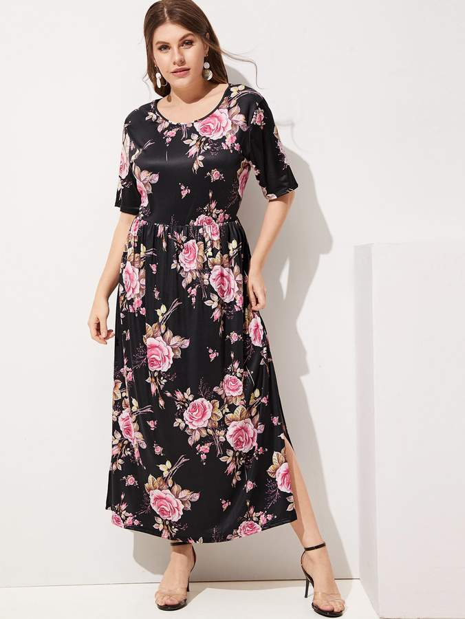 47a1c11747f Shein Plus Split Side Floral Print Dress