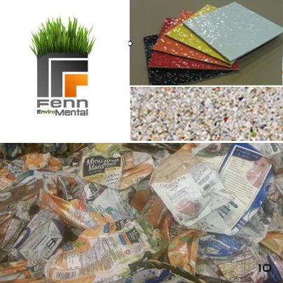 Fenn Enviro-Mental    Our top 5 innovative green building materials    Rewall:     100% recycled, 100% recyclable, made with no glues or chemicals, emit no VOCs and cost less than any traditional material with similar properties. ReWall! Made out of tetra pak and similar cartons