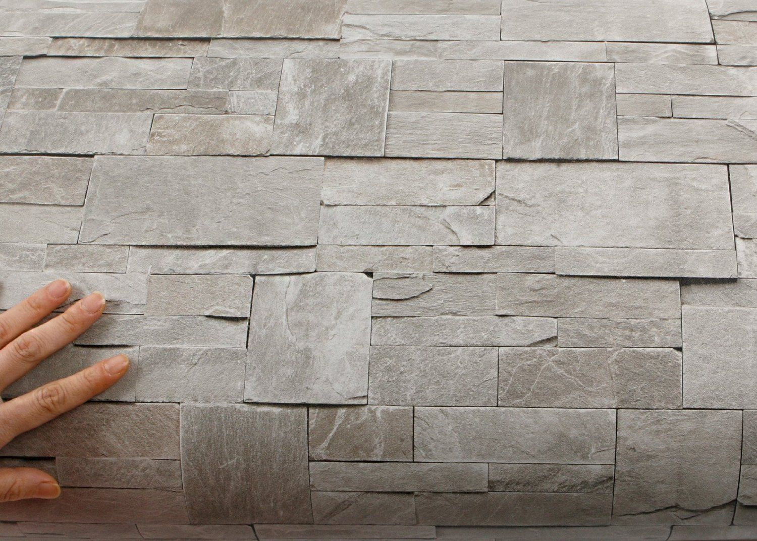 Peel & Stick Backsplash Stone Brick Pattern Contact Paper Self ...