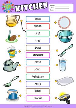 Kitchen Esl Matching Exercise Worksheet For Kids School