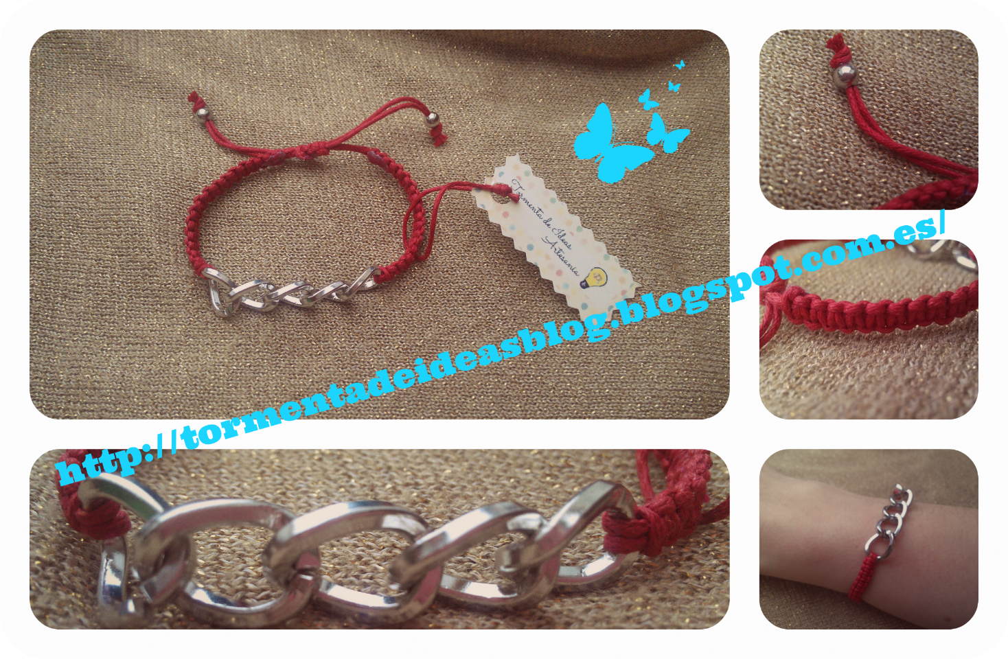 Pulsera de hilo encerado rojo y cadena.  Precio: 2,00 €/unidad