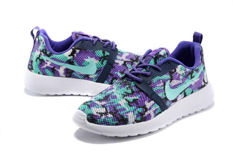 #shoes #womens #sneakers  511881-134 Nike Roshe Run Camo Electric Purple Turquoise Navy new 2015 shoes