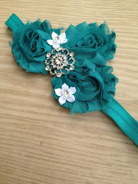 Teal Green Shabby flower Headband by SalinasAccessories on Etsy, $7.50