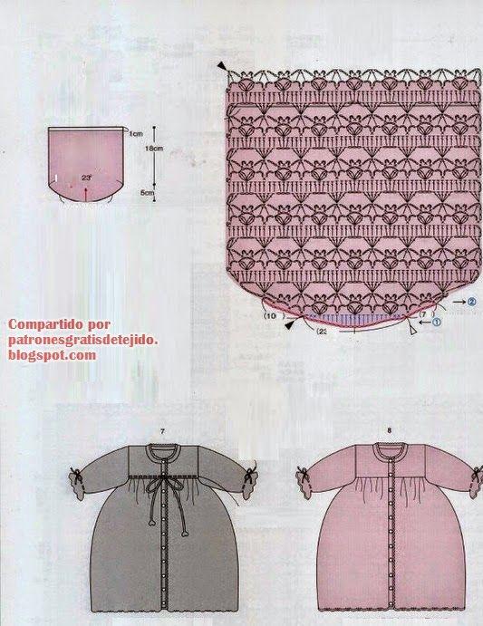 Patrones y moldes de saco largo de niña para tejer al crochet en ...