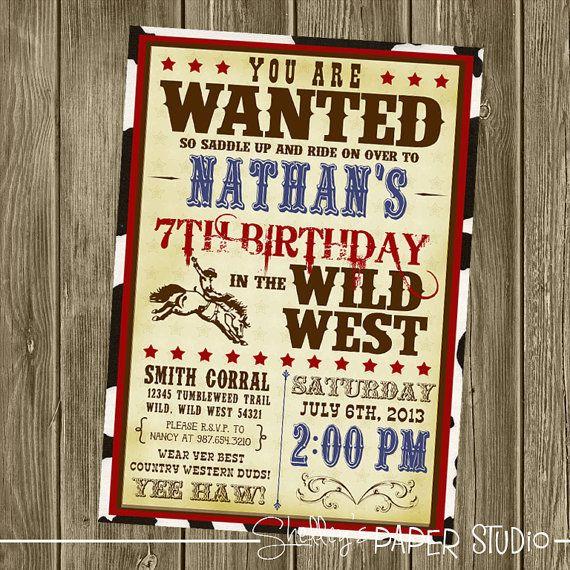 Invitation d'anniversaire de Cowboy par shelleyspaperstudio sur Etsy | Fiestas de cumpleaños de ...