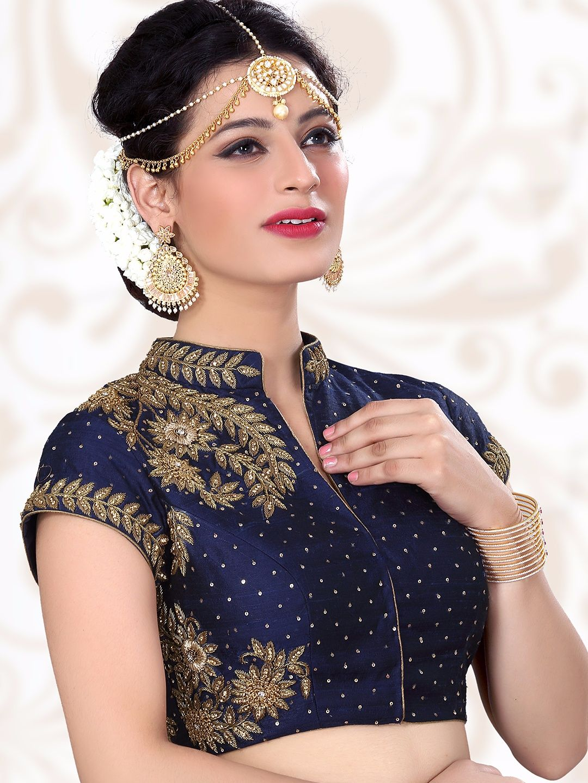 b015cb8fce11c3 Shop Navy designer ready made raw silk blouse online from G3fashion India.  Brand - G3
