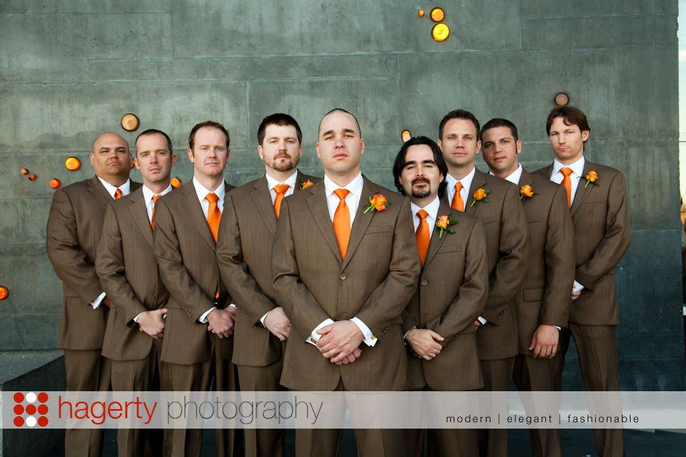 Love The Brown Suit Color For Groom And Groomsmen Since I Want Orange In Wedding