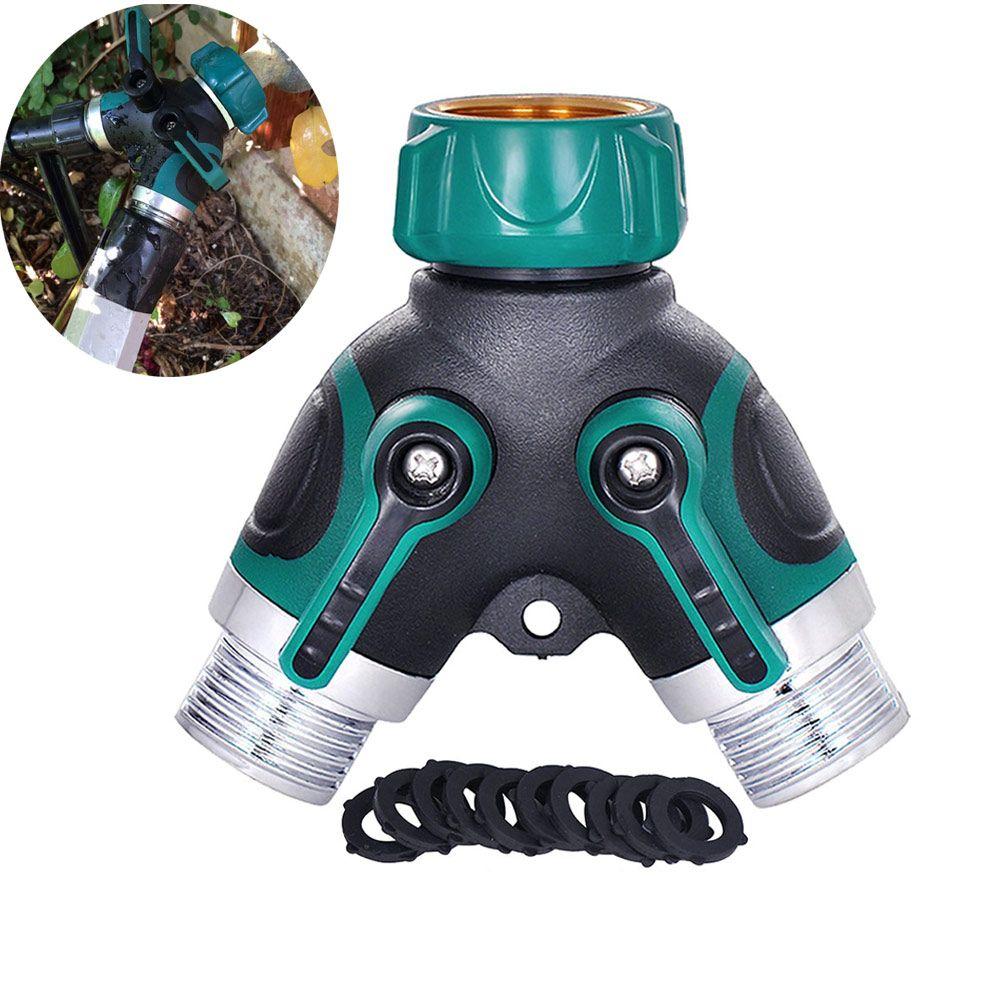 Water Hose Splitter Outdoor Faucet Sprinkler Drip Systems Ball Valve ...