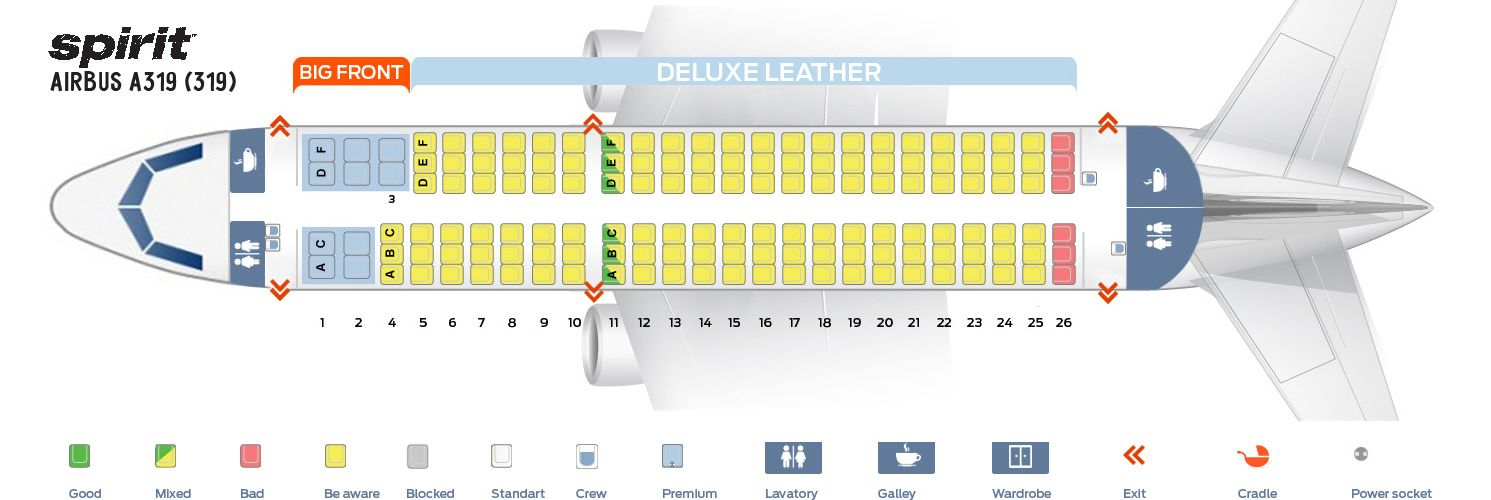Airbus A319 100 Seating Chart And Seat Map Of Spirit Airlines Spirit Airlines Airbus Airlines